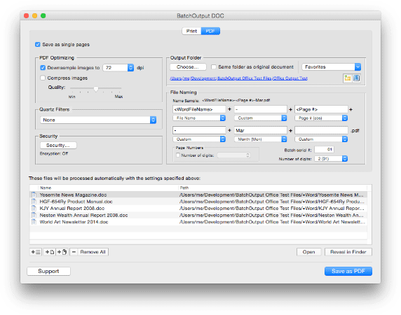 BatchOutput for Microsoft Word: PDF export options (screenshot)